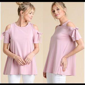 NWT  Mauve Pink Cold Shoulder tee, size M